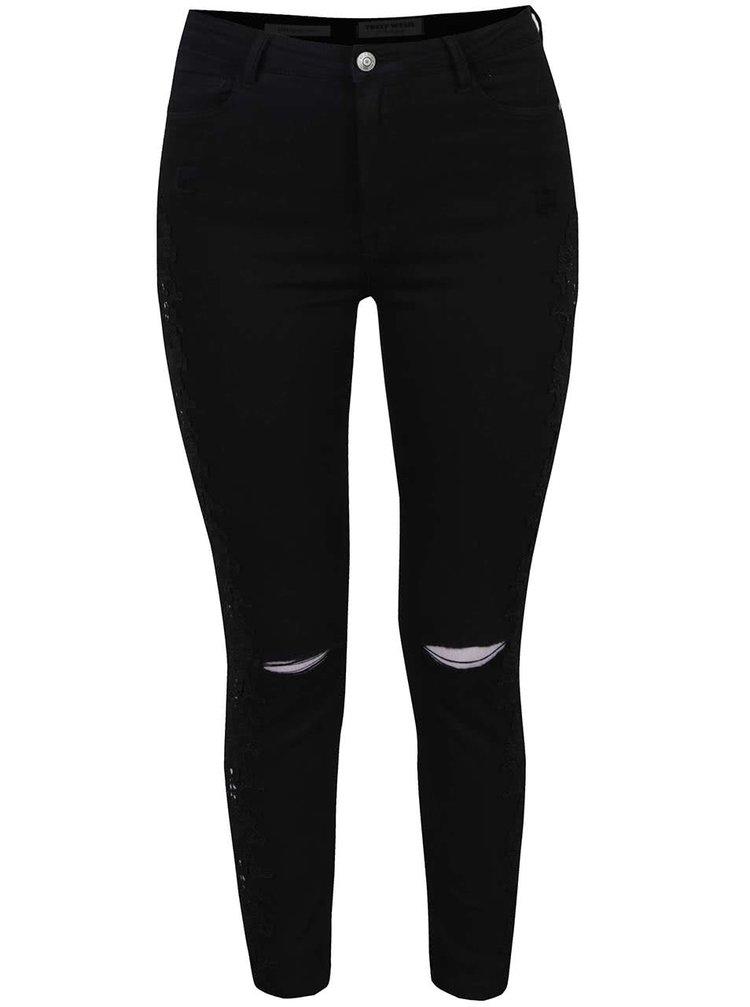 Černé džíny s postranními krajkovými detaily TALLY WEiJL