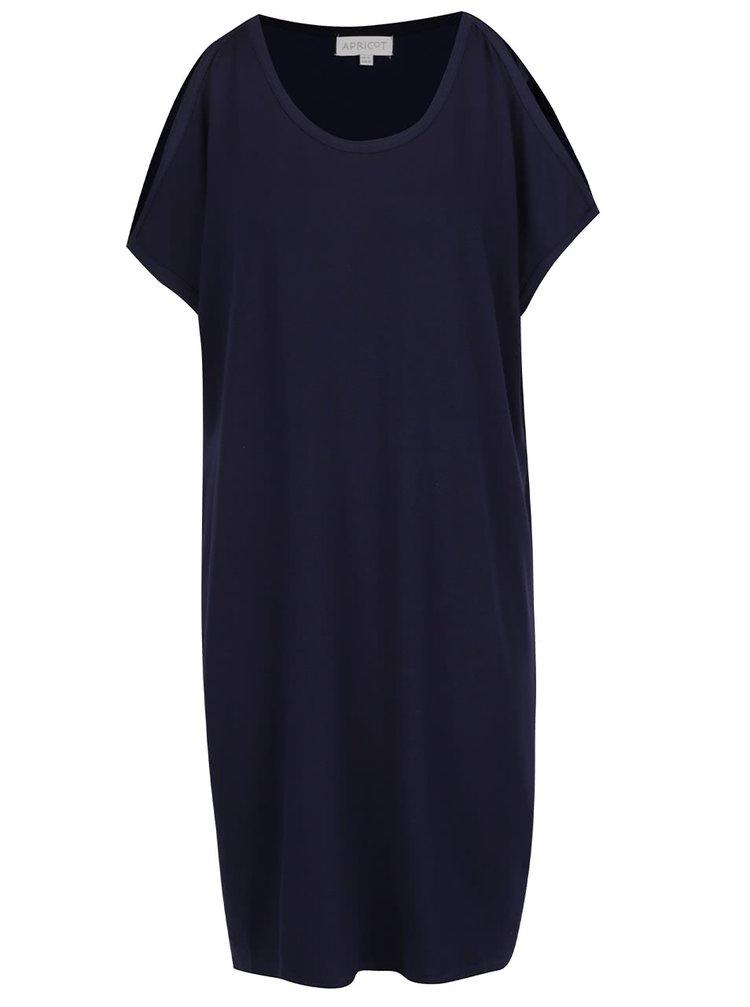 Tmavě modré volné šaty s průstřihy na ramenou Apricot