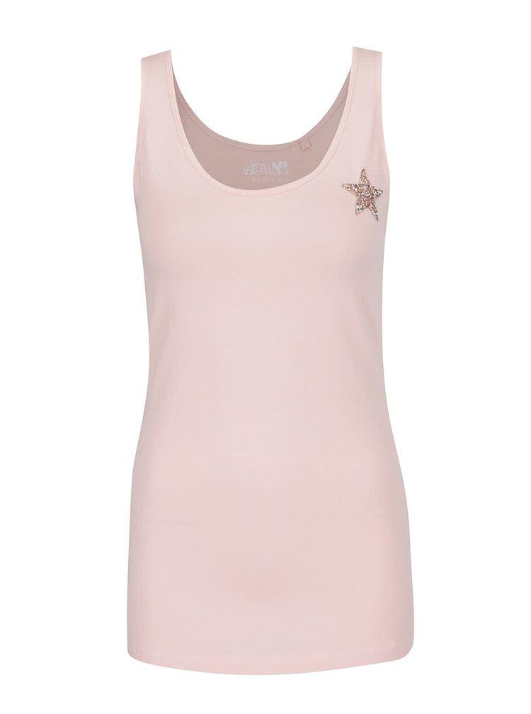 Růžové tílko s aplikací ve stříbrné barvě Haily's Cami Linda Patch