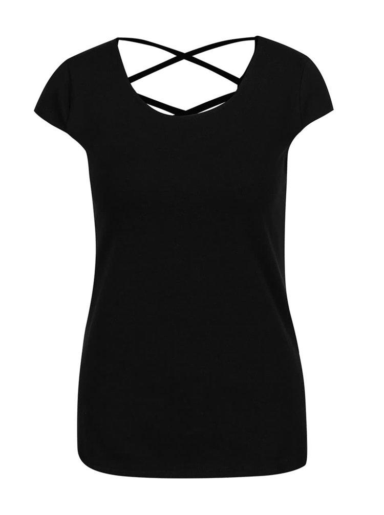 Čierne tričko s detailom na chrbte Haily's Melanie
