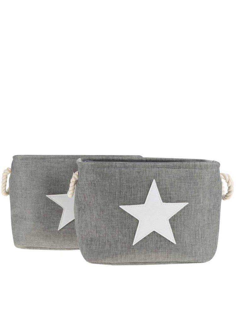 Sada dvou šedých textilních úložných košů s motivem hvězdy Dakls