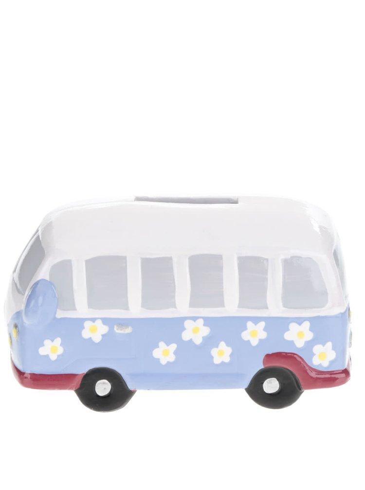 Modro-bílá kasička ve tvaru autobusu CGB