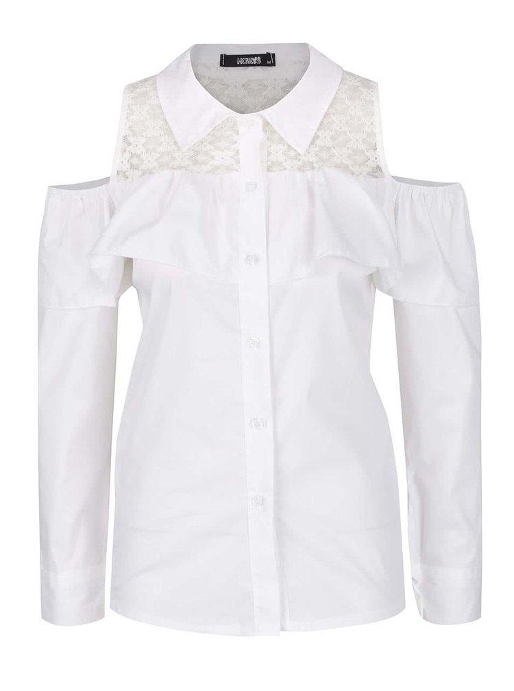 Krémová košeľa s prestrihmi na ramenách Haily's Lilly