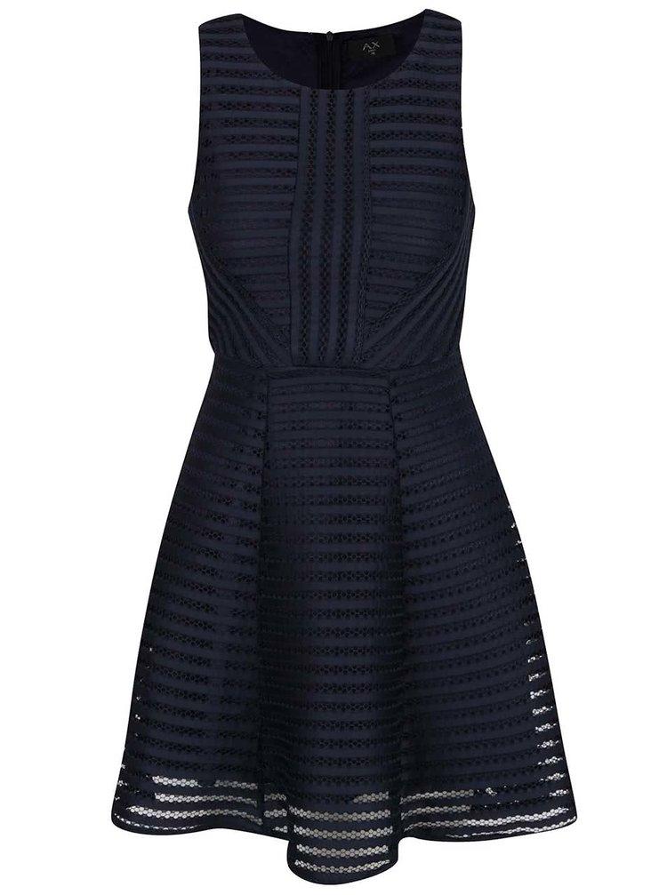 Tmavě modré perforované šaty Ax Paris