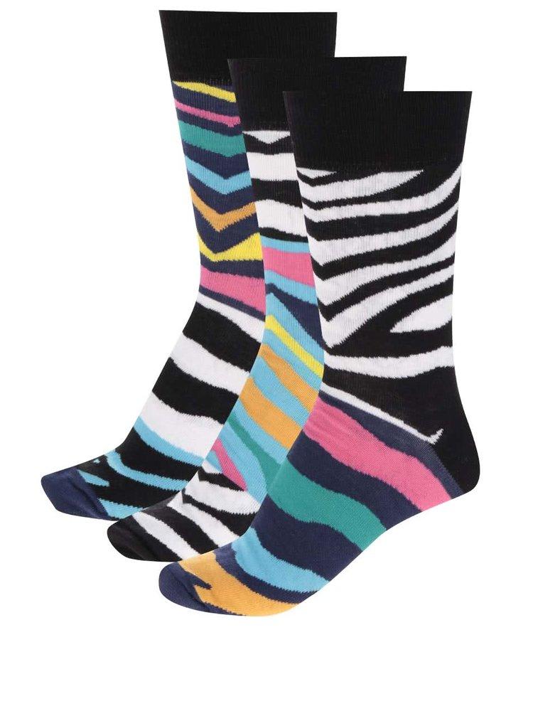Set de 3 șosete cu zebra print multicolor Oddsocks Wesley