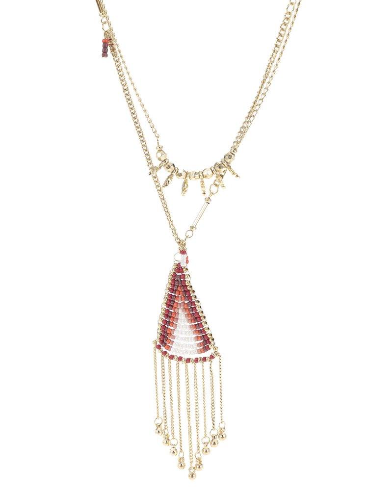 Dlouhý náhrdelník s červenými korálky Pieces Lia