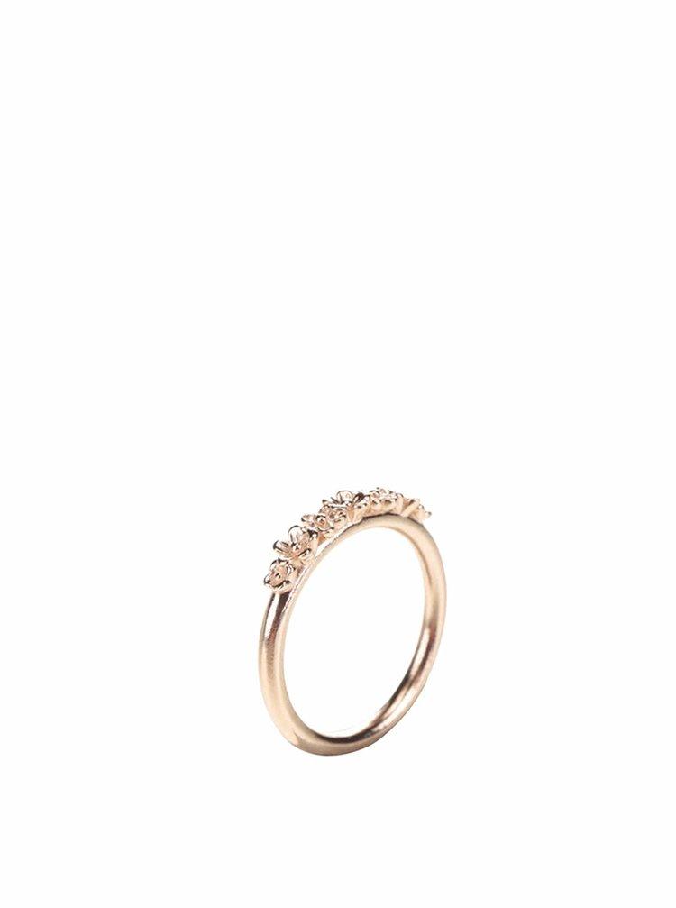 Pozlacený prstýnek v růžovozlaté barvě s detaily květů Pieces Jow