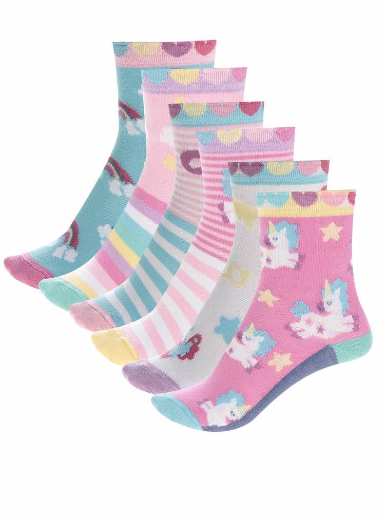 Sada šesti holčičích ponožek s motivem jednorožců Oddsocks Fairy