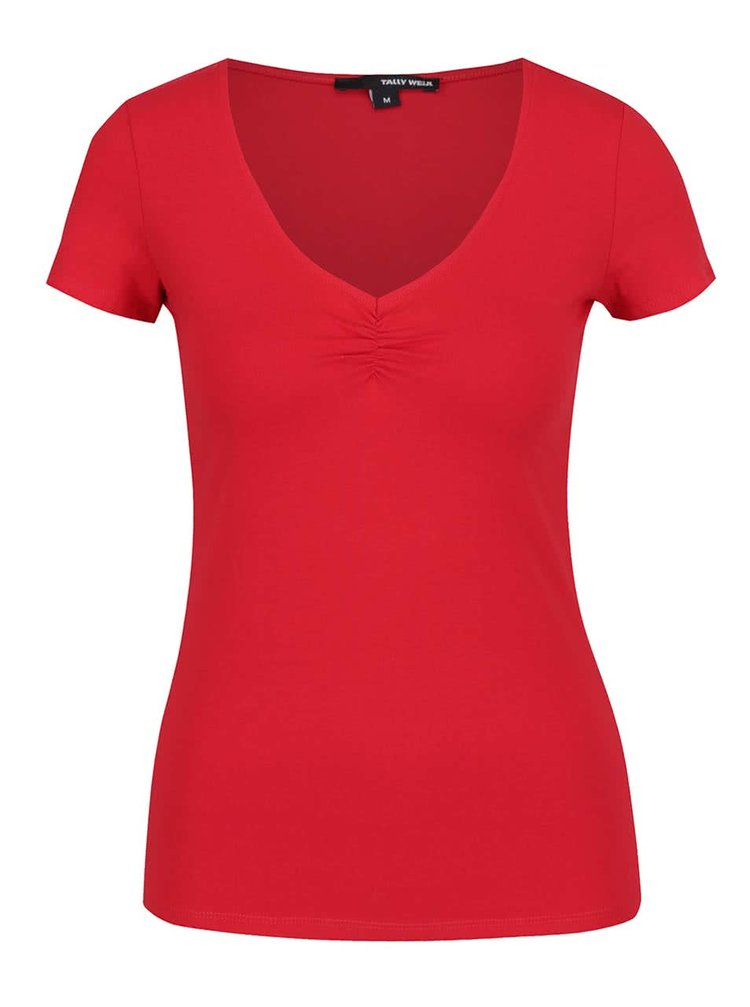 Červené tričko s řasením v dekoltu TALLY WEiJL