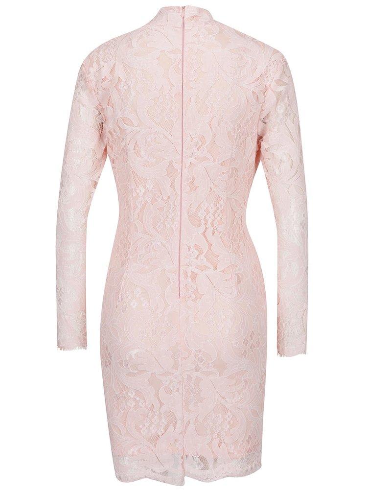 4128574b88a3 ... Ružové čipkované šaty s prestrihom v dekolte AX Paris