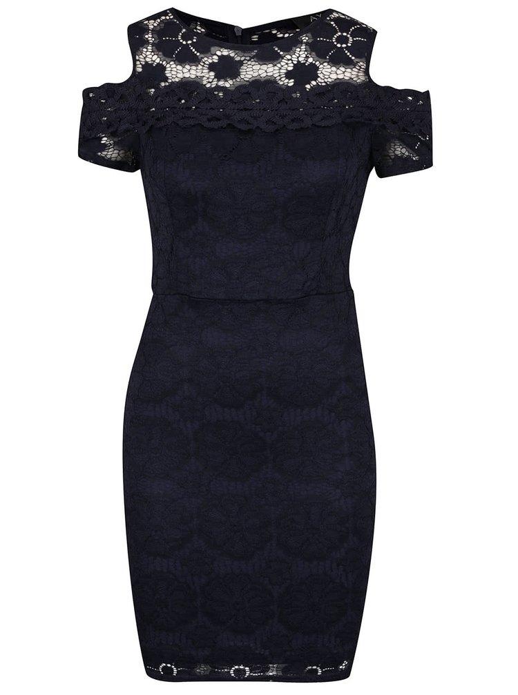 Tmavě modré krajkové šaty s průstřihy na ramenou AX Paris