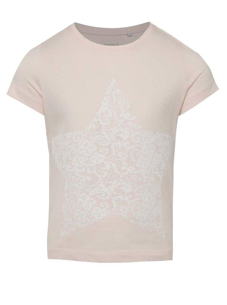 Béžové holčičí tričko s potiskem hvězdy name it Iben