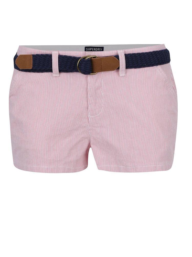 Pantaloni scurți roșii Superdry cu model discret în dungi și curea bleumarin