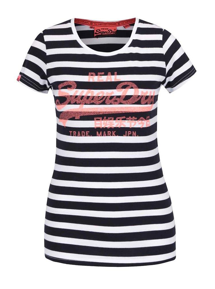 Tricou alb & albastru închis Superdry din bumbac cu print și model în dungi
