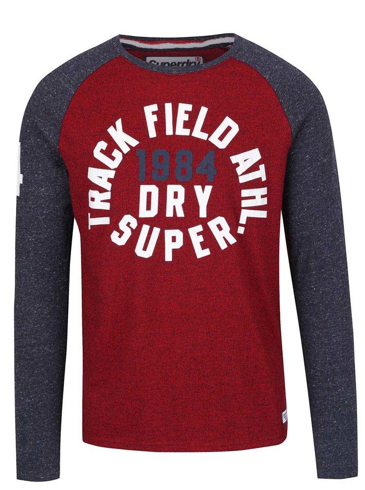 Vínové pánské triko s dlouhým rukávem Superdry