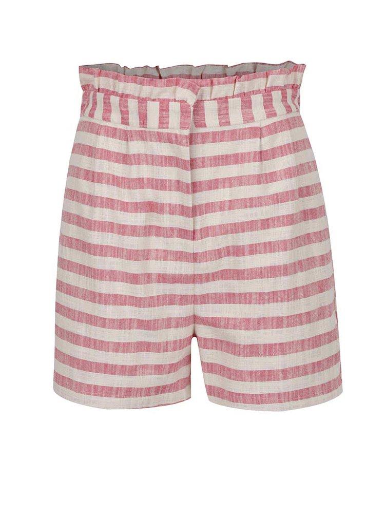 Pantaloni scurți crem&roz VERO MODA Laura cu model în dungi