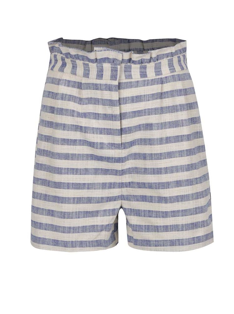 Pantaloni scurți crem&albastru VERO MODA Laura cu model în dungi