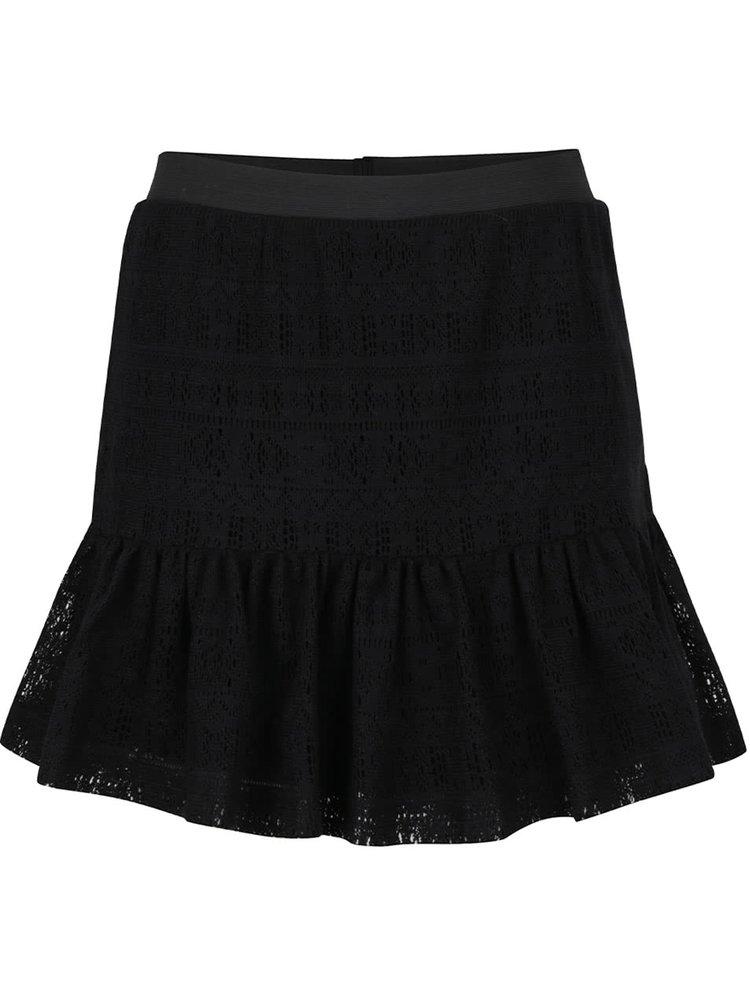Černá krajková sukně s volánem Noisy May Anna