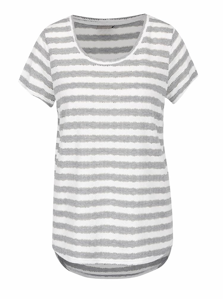 Krémovo-šedé pruhované tričko VERO MODA Kaya