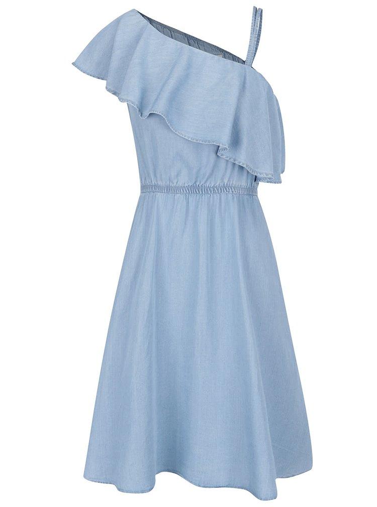 Rochie albastră din denim subțire Noisy May Nesli cu decolteu pe un umăr