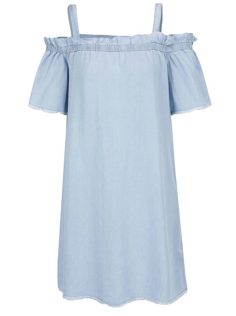 Rochie albastra din denim subtire Noisy May Endi cu decolteu pe umeri
