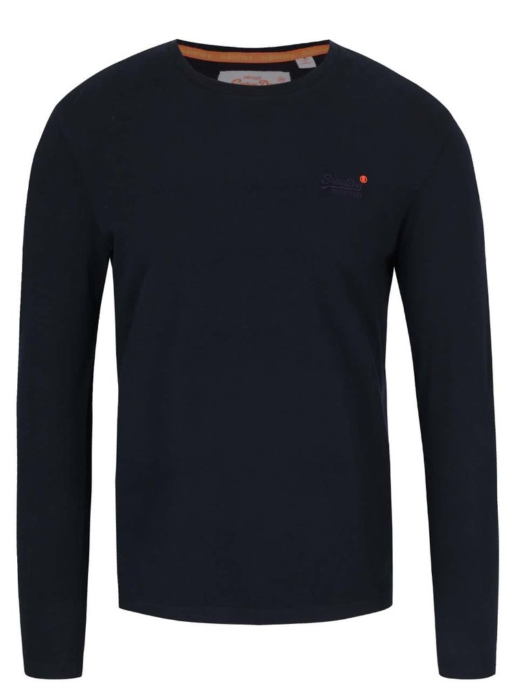 Černé pánské triko s dlouhým rukávem Superdry