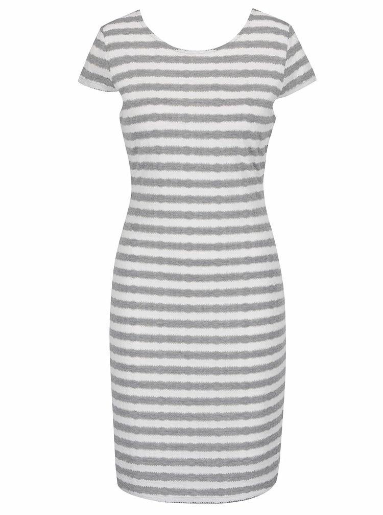 Bílo-šedé pruhované šaty VERO MODA Kaya