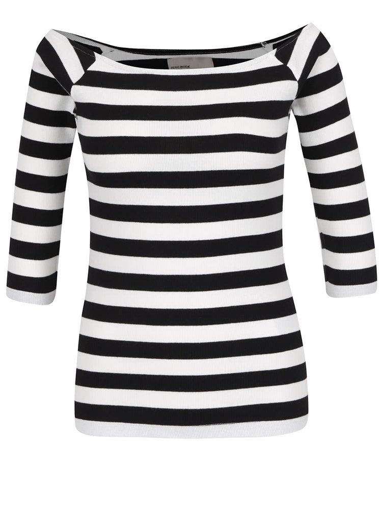 Bluză crem&negru din jerseu subțire VERO MODA Bal cu decolteu pe umeri