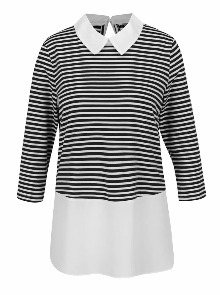 Bluză crem&neagru Vero Moda Kacy cu aspect 2în1 și guler clasic