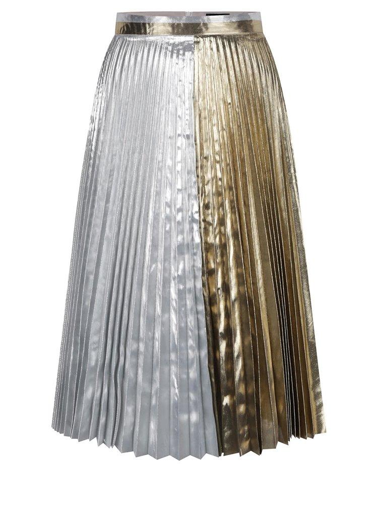 Fustă midi argintiu&auriu Idol Ray cu pliuri mici