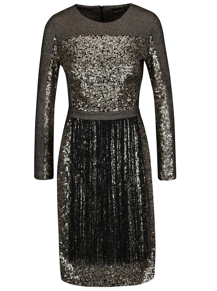 Rochie auriu&negru din brocart Idol Ray cu paiete și franjuri
