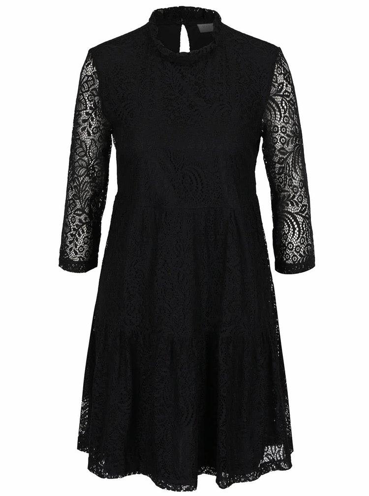Černé volné krajkové šaty VILA Mola
