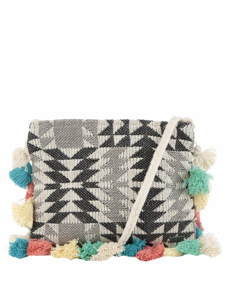 Béžová vzorovaná crossbody kabelka s barevnými třásněmi Roxy Silver