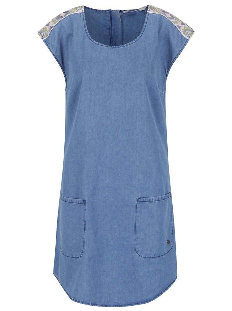 Modré džínové šaty s kapsami Roxy After Surfing