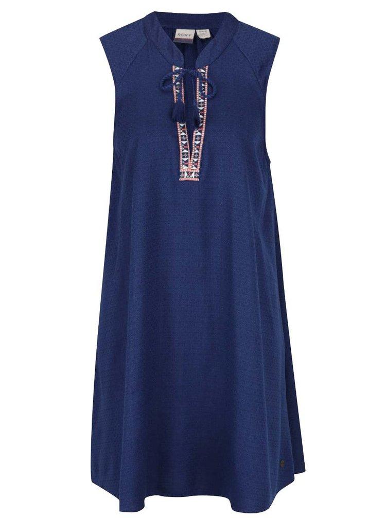 Tmavě modré šaty ze vzorovaným lemem v dekoltu Roxy Magic