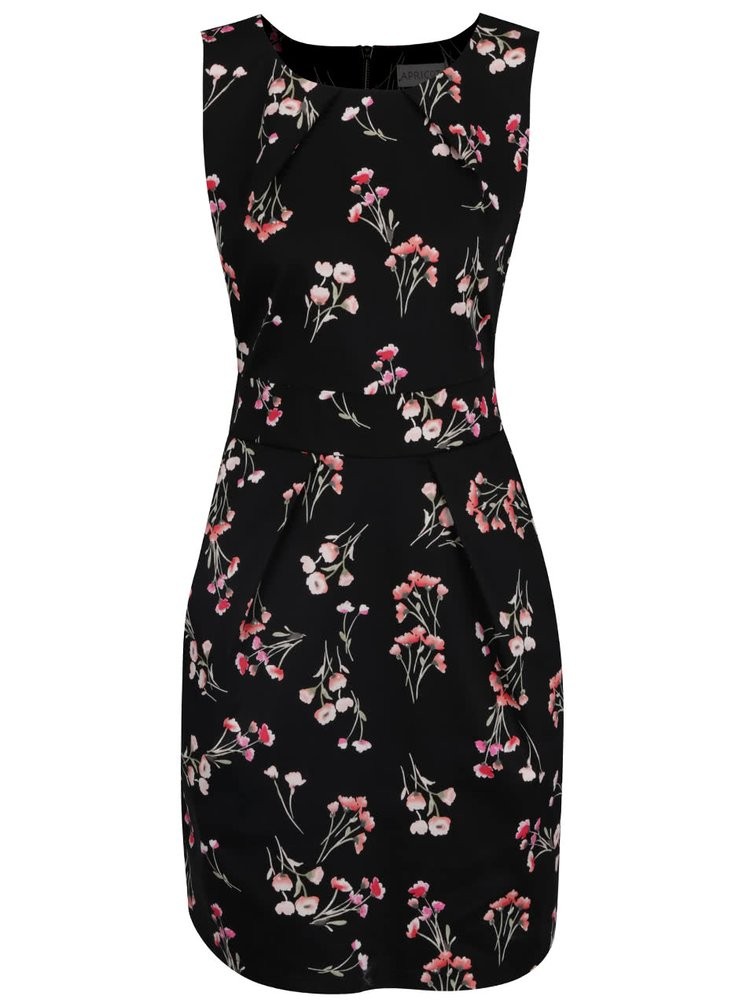 Rochie neagră Apricot cu model floral și buzunare