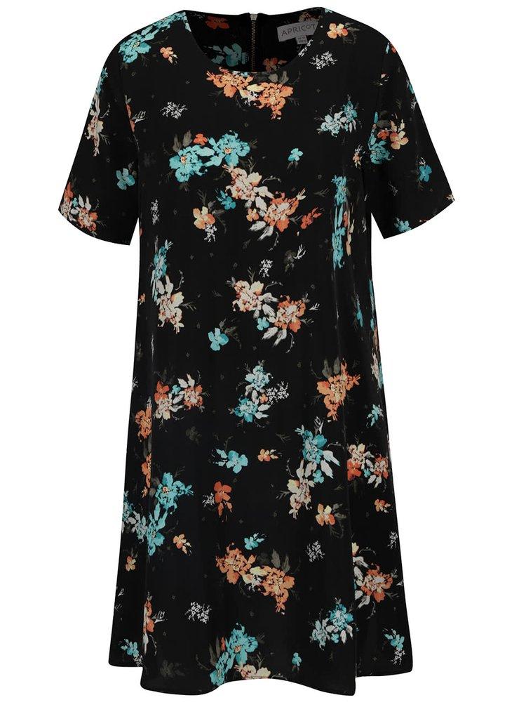Černé volné květované šaty Apricot