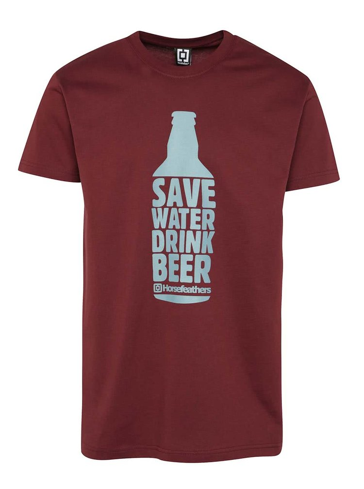 Tricou vișiniu Horsefeathers Save Water cu print
