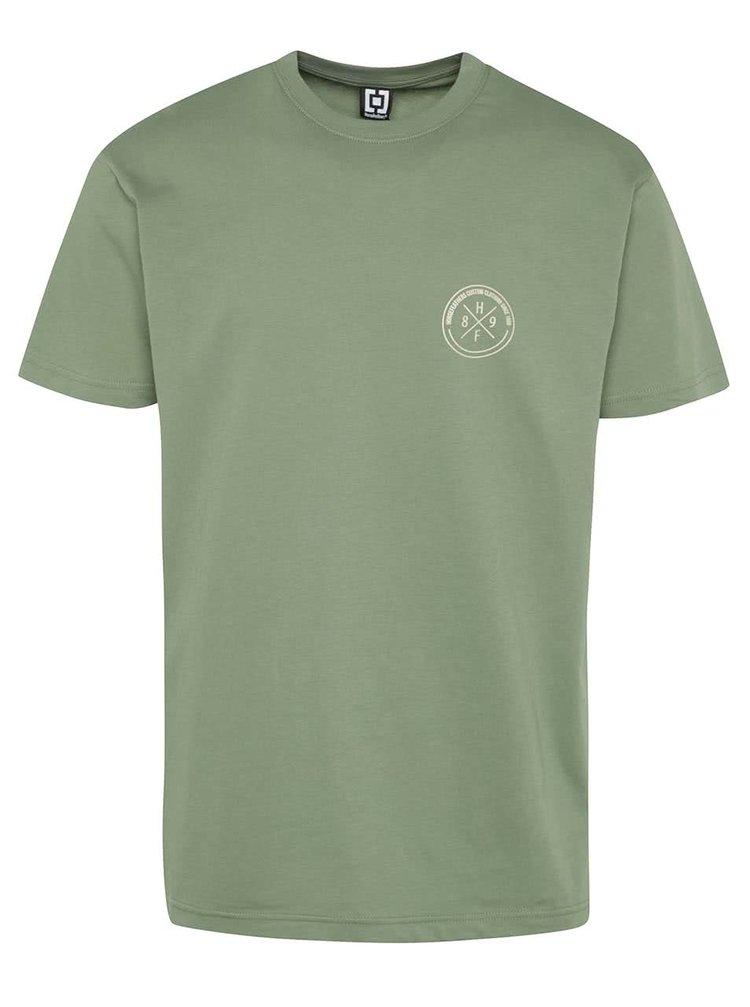 Zelené pánské triko s potiskem na zádech Horsefeathers