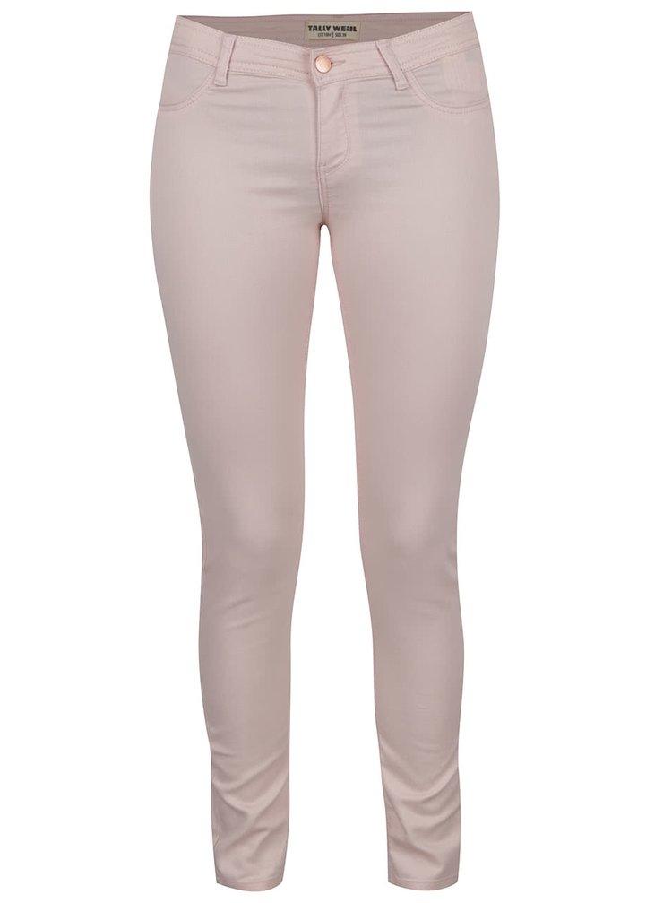 Světle růžové elastické skinny džíny s nízkým pasem TALLY WEiJL