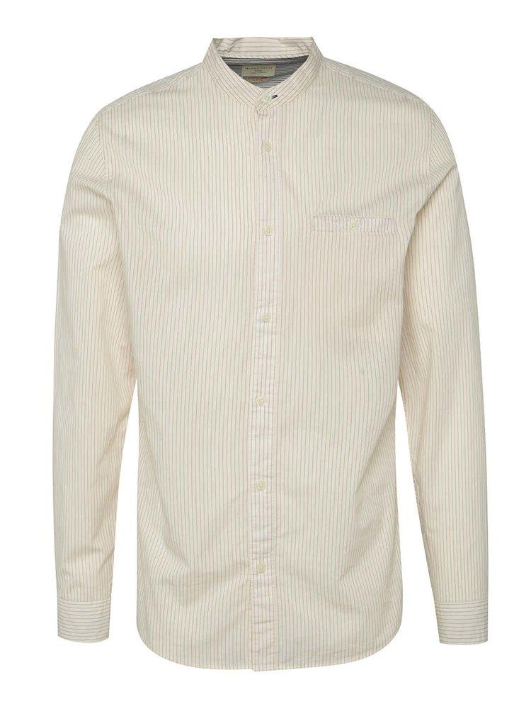 Cămașă crem Selected Homme One Morton din bumbac cu guler tunică și model în dungi