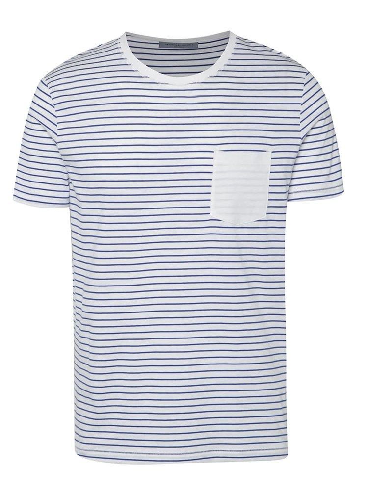 Tricou albastru Selected Homme Divan din bumbac cu model în dungi