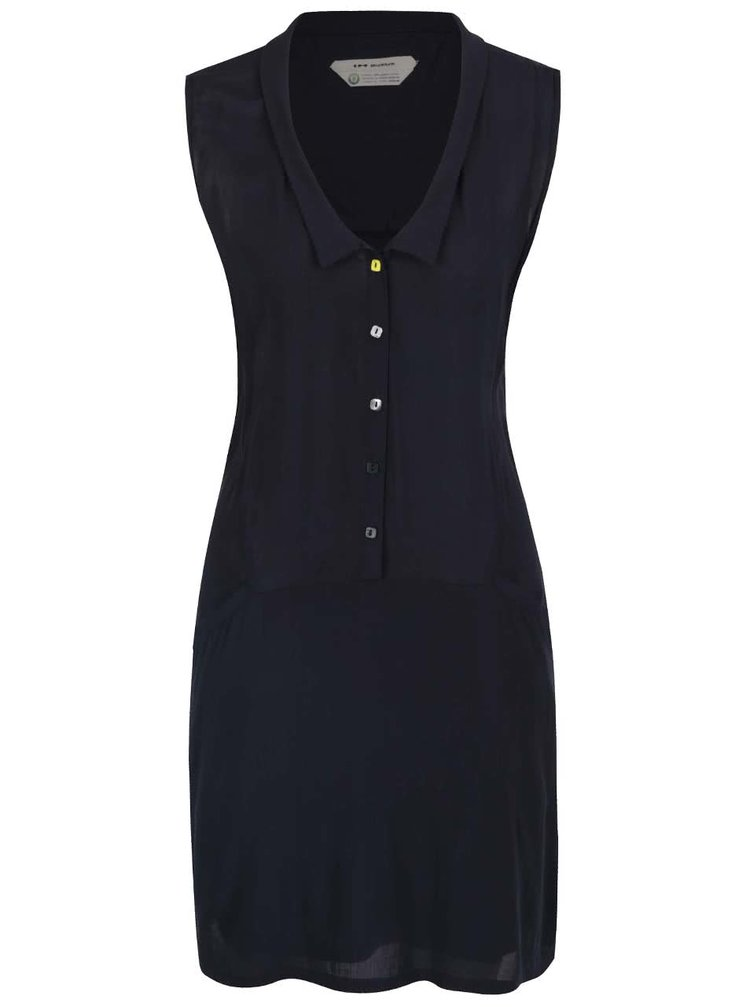 Tmavě modré košilové šaty bez rukávů Skunkfunk