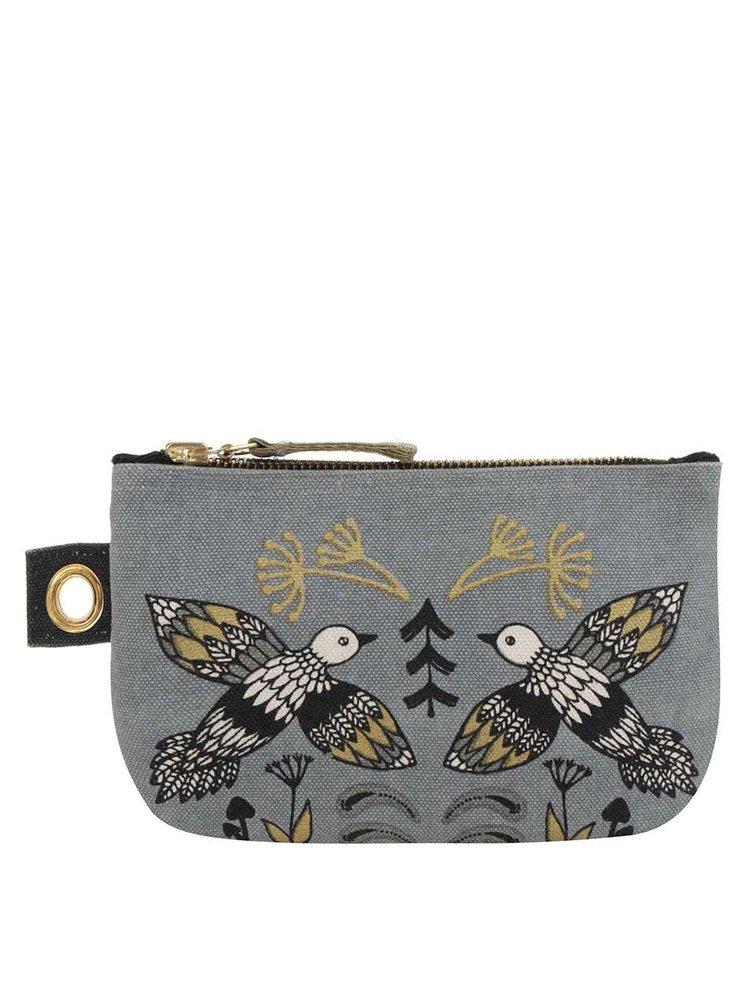 Šedá malá kosmetická taštiška na zip s ptáky Magpie Wild Tale