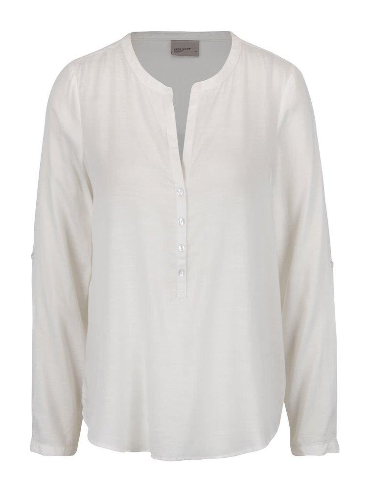 Bluză albă VERO MODA Fay cu croi lejer și guler tunică