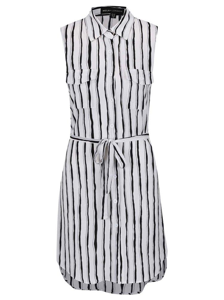 Černo-krémové pruhované košilové šaty Mela London