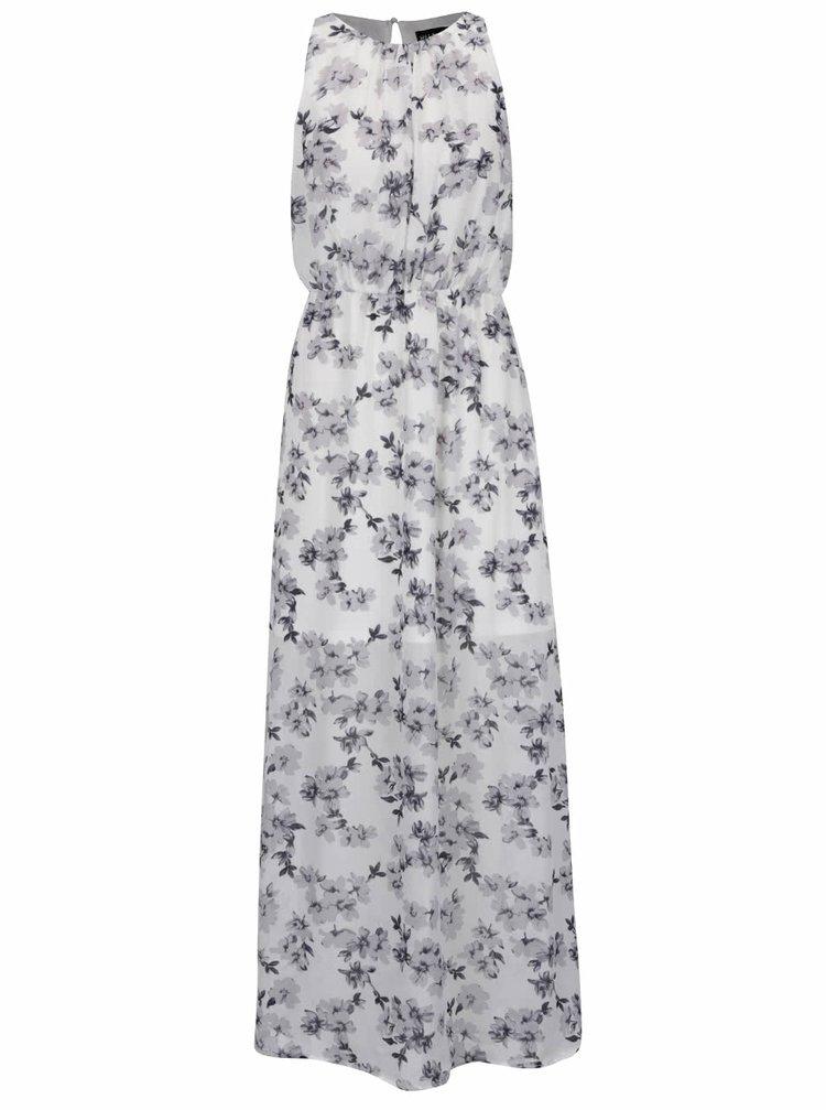 Rochie maxi alb & gri Mela London cu model floral