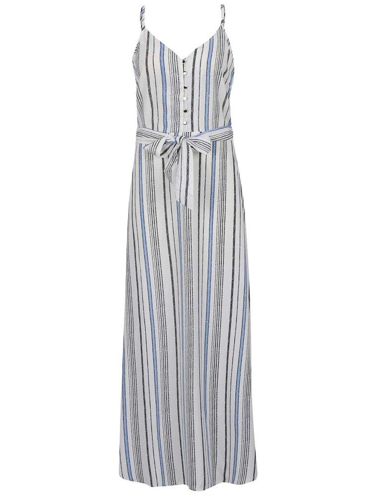 Rochie maxi crem & albastru Mela London cu model în dungi