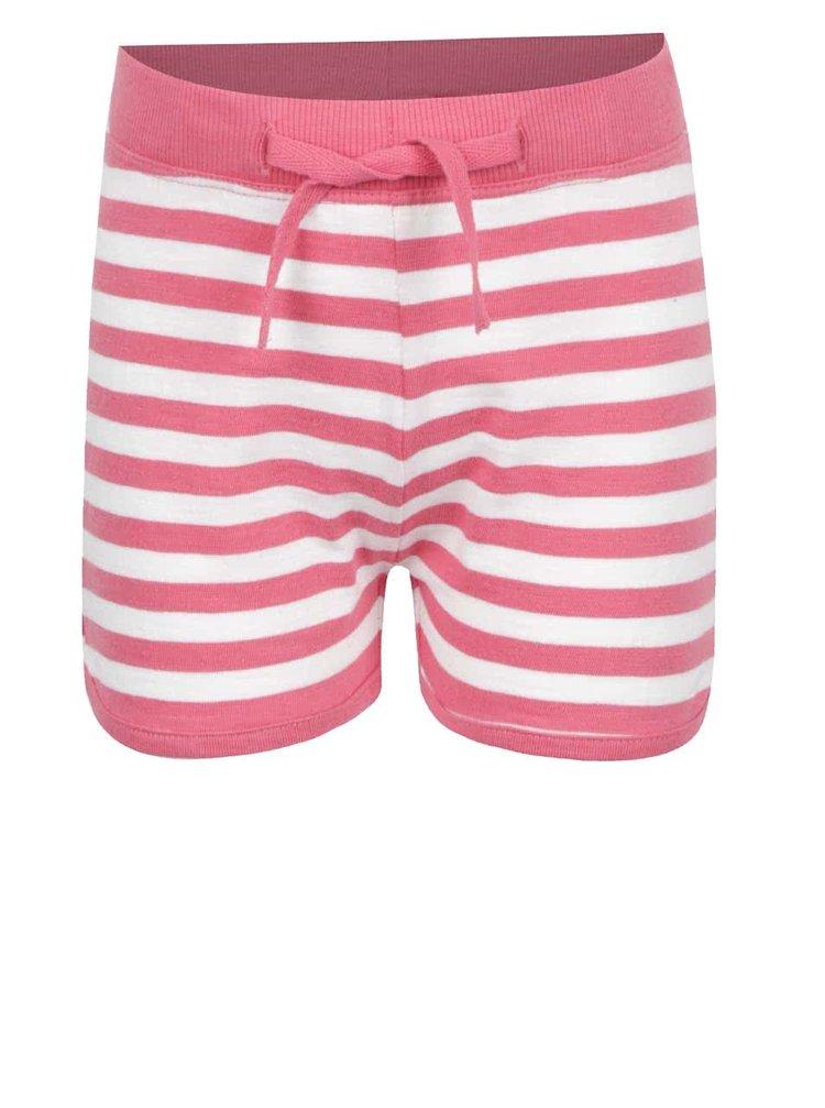 Krémovo-růžové holčičí pruhované kraťasy name it Tisa
