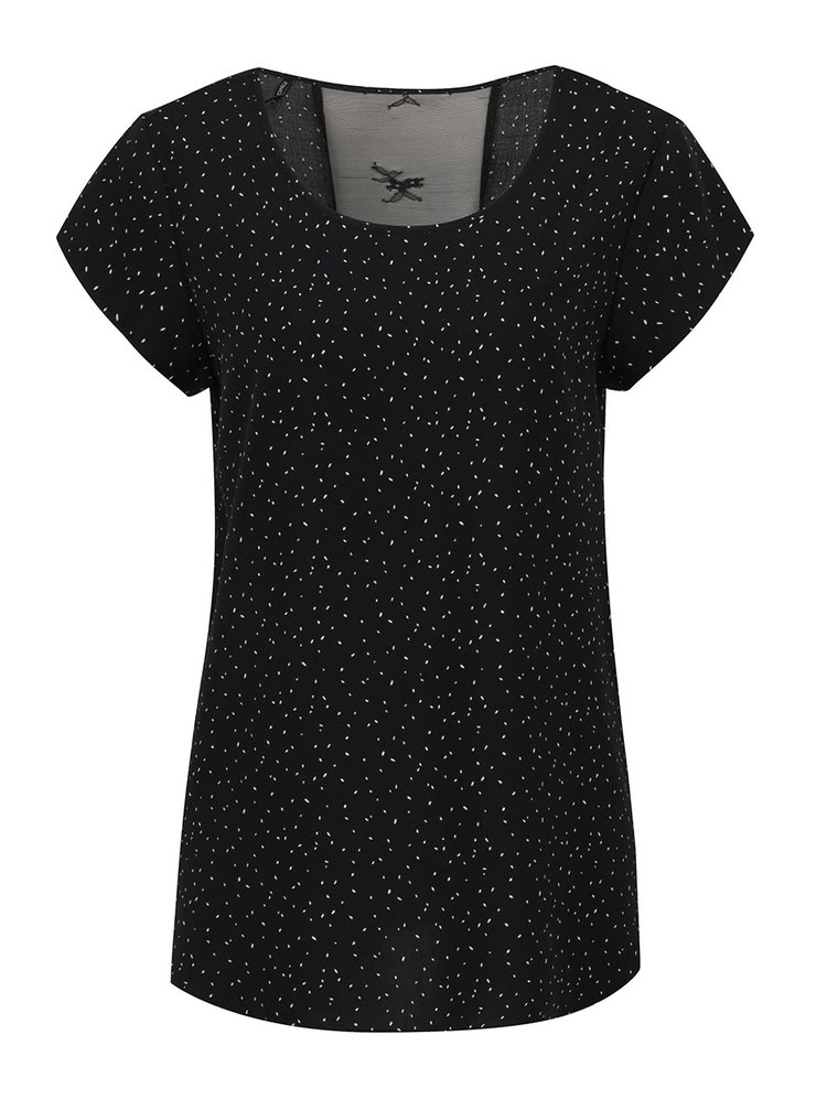 Tricou negru ONLY Nova cu inserție din dantelă